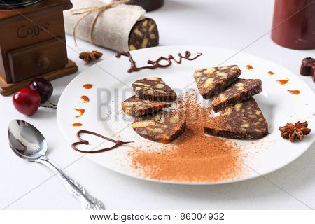 chocolate sausage with decorations