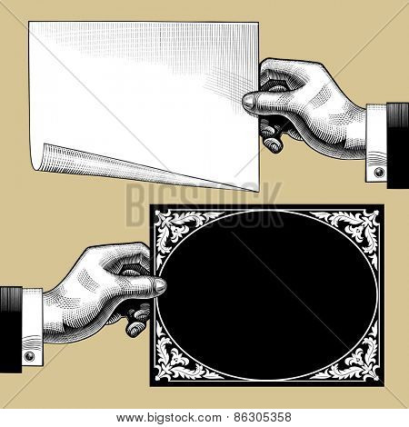 Vintage engraving drawing of hands with paper and old signboard. Vector illustration