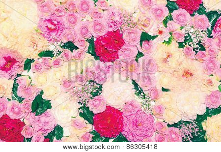 Background Of Many Flowers, Floral Decoration Wall. Gentle Pastel Toned Colors Photo