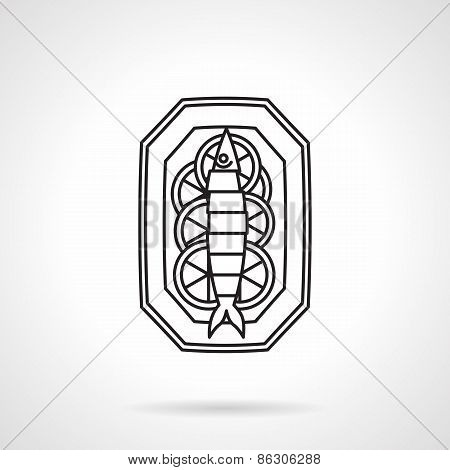 Black line vector icon for seafood