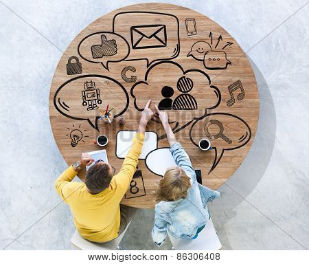 Diversity People Brainstorming Media Communication Online Concept