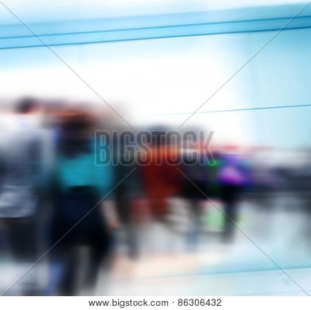 Crowd People Commuter Group Travel Walking Concept