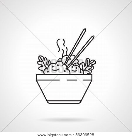 Rice bowl black line vector icon