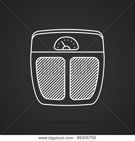 Floor scales white line vector icon
