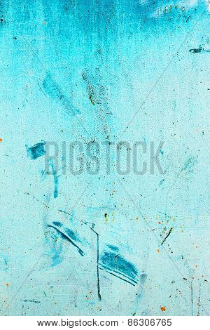 Creative Beautiful Blue Background, Blue Spray Paint On Concrete With Cracks And Scratches. Landscap