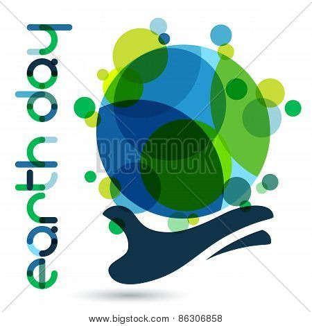 Abstract Vector Illustration Background. Human Hand Holding Green Earth. Concept For Save Earth Day