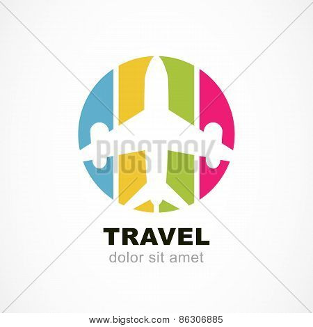 Flight Airplane Silhouette And Colorful Stripe Background. Travel Around The World Concept. Abstract