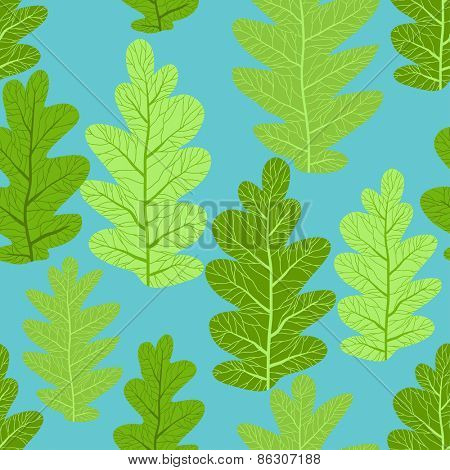 Green leaves seamless pattern. Summer background