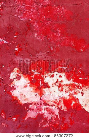 Creative Beautiful Bright Red With White Stains Background, Cracks And Scratches On The Concrete. Gr