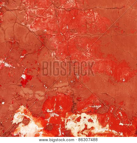 Creative Beautiful Bright Orange Background, Cracks And Scratches On The Concrete. Grungy Concrete S