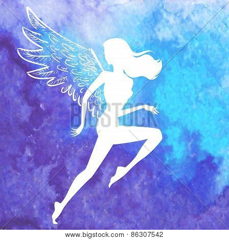 Vector Silhouette Of Running Winged Woman