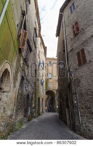 Rome, Italy - January 20, 2010: Narrow Street In Bracciano