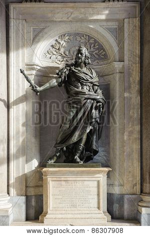 Rome, Italy - January 21, 2010: Bronze Statue Of Philip Iv Of Spain