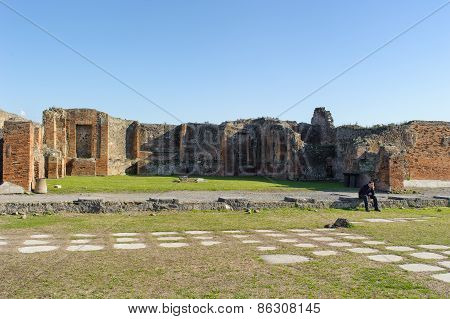 Naples, Italy - January 19, 2010: Ruins In Pompeii