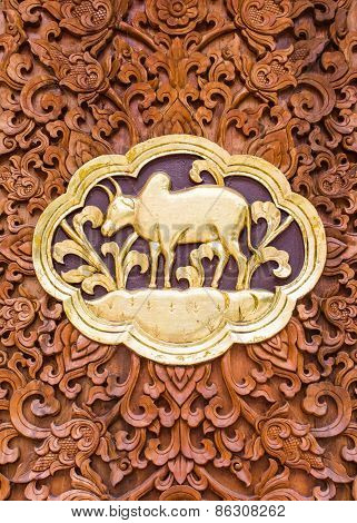 Cow Wood Carving Wall Sculptures In Thai Temple