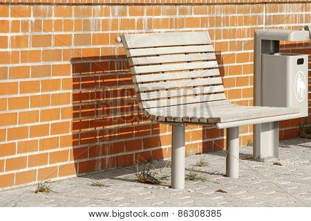 Bench and waste container