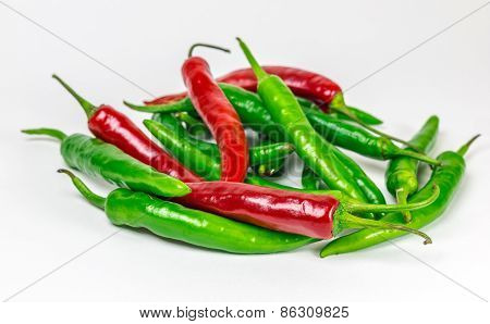 Red-green Group Of Chili Pepper, Isolated