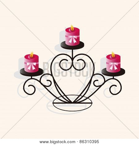Valentine's Day Candle Theme Elements