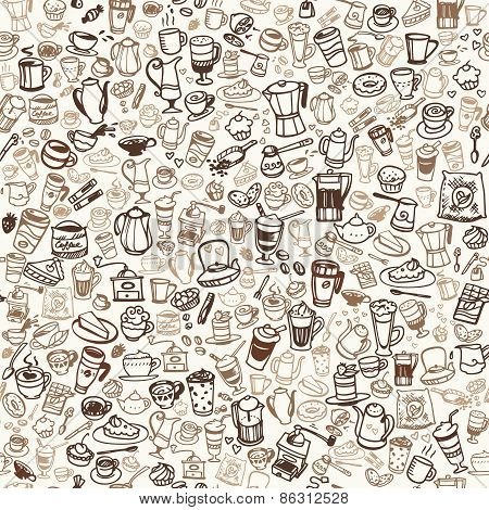 Vector Doodle Coffee And Tea Seamless Background