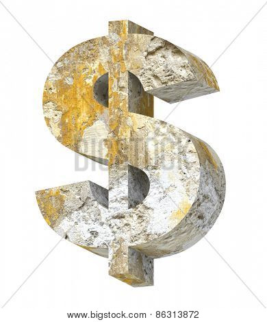Dollar sign from old concrete alphabet set isolated over white. Computer generated 3D photo rendering.