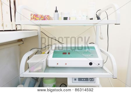 Medical trolley in beauty salon room