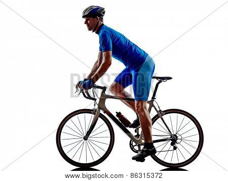 one cyclist road bicycle in silhouette on white background