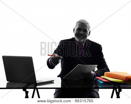One Caucasian Senior Business Man busy working Silhouette White Background