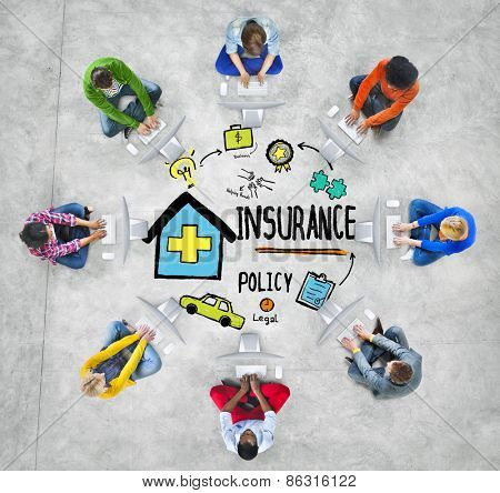 Diversity Casual People Insurance Policy Communication Internet Concept
