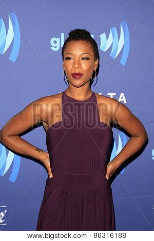 LOS ANGELES - MAR 21:  Samira Wiley at the 26th Annual GLAAD Media Awards at the Beverly Hilton Hotel on March 21, 2015 in Beverly Hills, CA