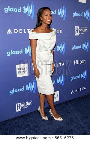 LOS ANGELES - MAR 21:  Aja Naomi King at the 26th Annual GLAAD Media Awards at the Beverly Hilton Hotel on March 21, 2015 in Beverly Hills, CA