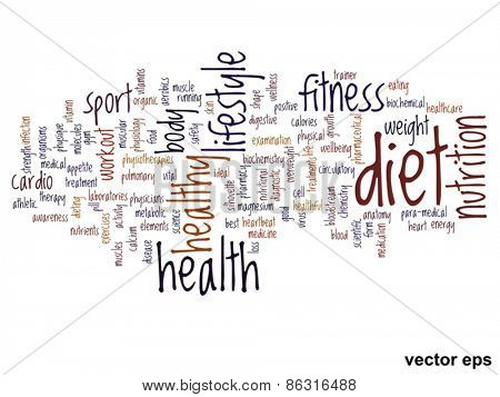 Vector concept or conceptual abstract health word cloud or wordcloud isolated on background