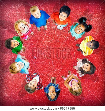 Children Kids Happiness Looking Up Concept
