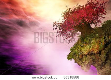 3D illustration of landscape with a big red tree on a rock