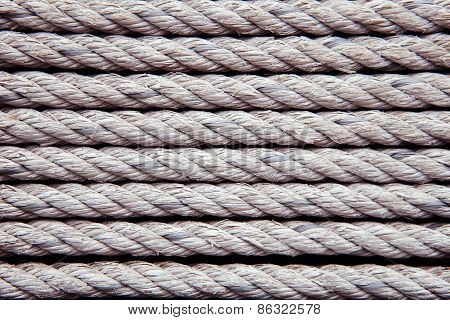 Old White Rope Arrangement As Pattern Use As Texture ,background,backdrop And Wall Object