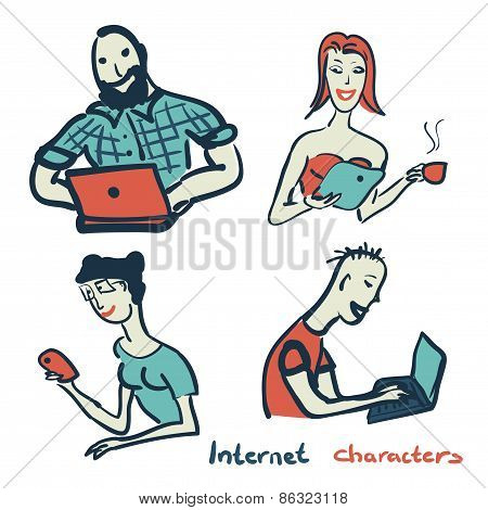 Set Of Characters On The Theme Of Internet Technology And Device