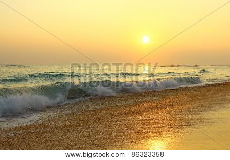 The evening Koggala beach at sunset