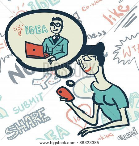 Seamless Pattern With People On The Topic Of Internet Communicat