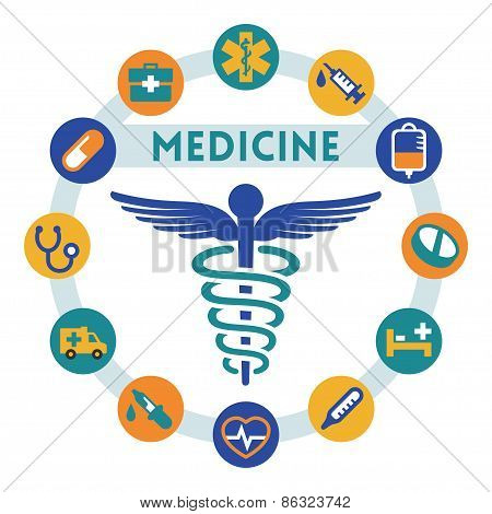 Medicine Related Vector Infographic, Flat Style