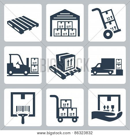 Warehouse Related Vector Icons Set