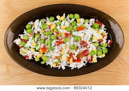 Vegetable Mixture In Dish On Wooden Tabl
