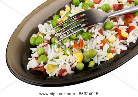Vegetable Mix In Dish And Fork