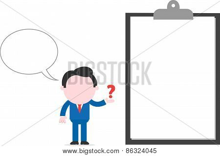 Businessman Showing Question Mark Beside Big Clipboard