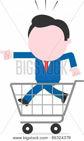 Businessman Pointing And Running Inside Shopping Cart