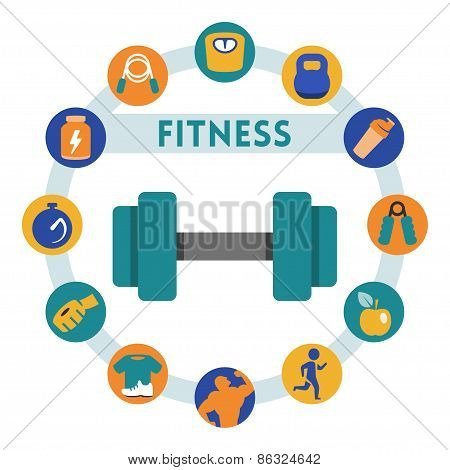 Fitness Related Vector Infographic, Flat Style