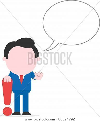 Businessman Leaning On Exclamation Mark