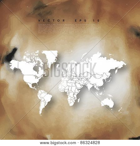 Vector Old paper background with world map
