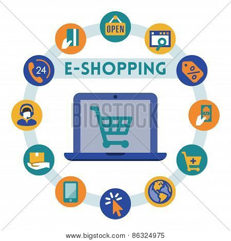 Online Shopping Related Vector Infographic, Flat Style