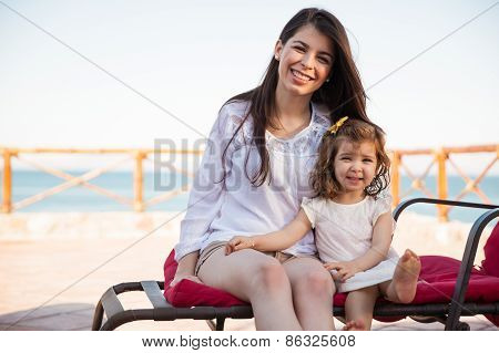 Happy Girl With Her Mom