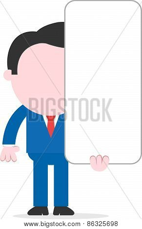 Businessman Holding Tall Blank Banner