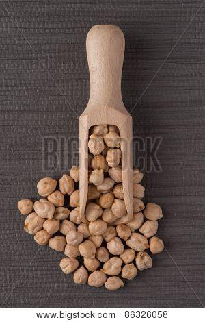 Wooden Scoop With Chickpeas
